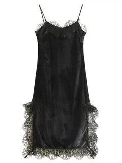 Lace Panel Scalloped A-Line Dress - Black S