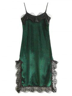 Lace Panel Scalloped A-Line Dress - Green M