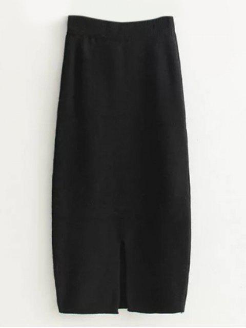 fancy High Waist Midi Sweater Pencil Skirt - BLACK ONE SIZE Mobile