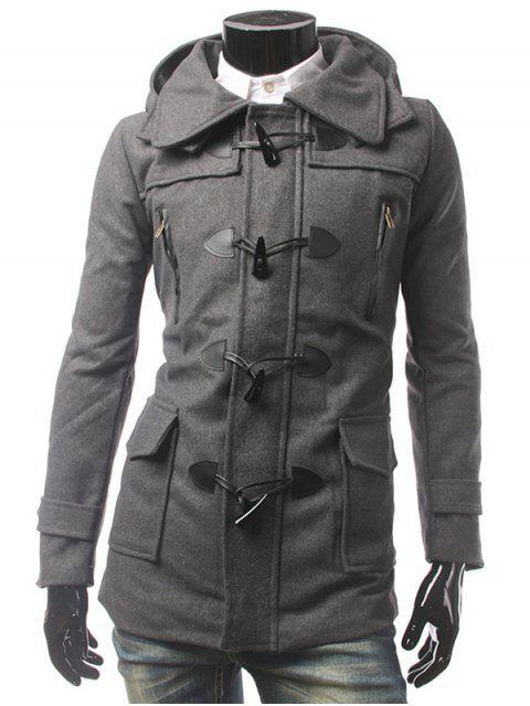 Mantel mit Kapuze Knöpfen Multi Taschen - Grau XL  Mobile
