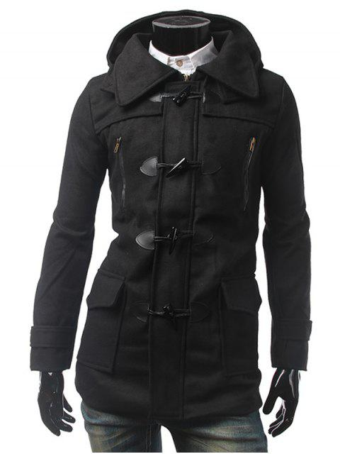 womens Multi Pocket Button Tab Cuff Hooded Toggle Coat - BLACK L Mobile