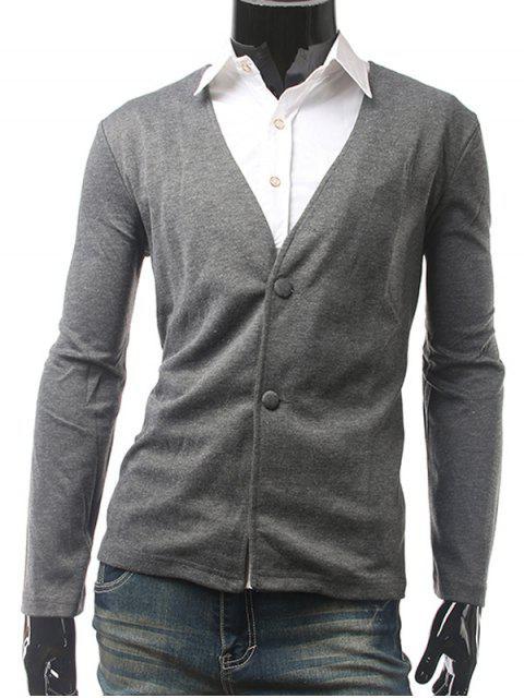 Slim Fit mit V-Ausschnitt-Taste Cardigan - Grau 2XL Mobile