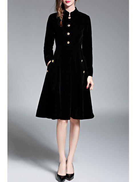 trendy Single Breasted Velvet A Line Dress - BLACK S Mobile