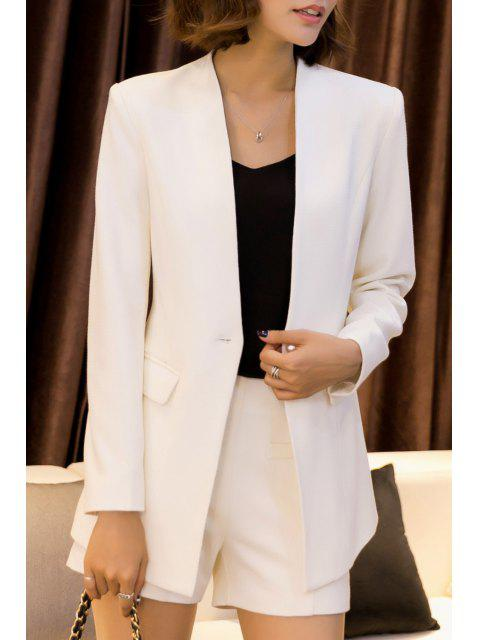 Arbeits Blazer mit Mini Shorts - Weiß 4XL Mobile