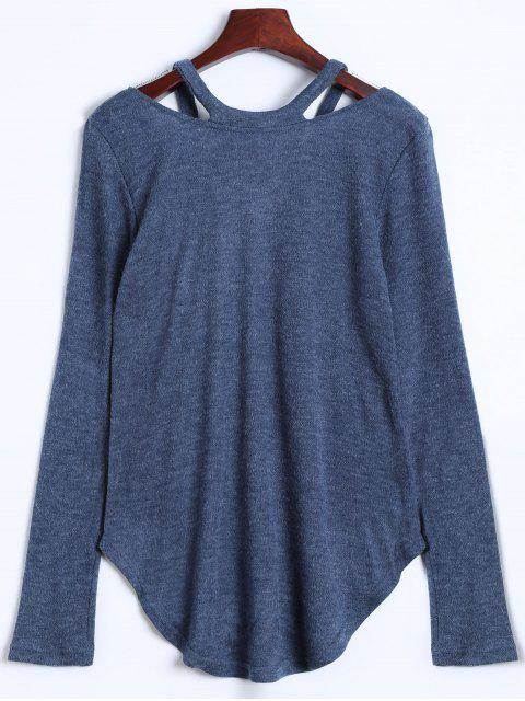 fashion Cut Out Pullover Sweater - BLUE GRAY M Mobile