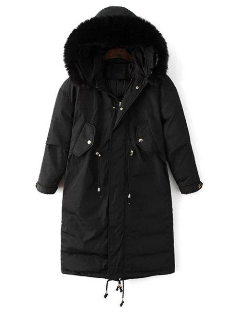 outfits Drawstring Zip-Up Puffer Coat - BLACK M Mobile