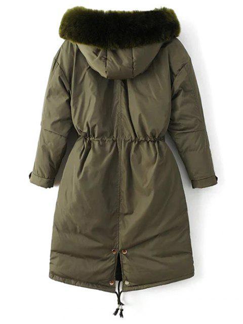 shops Drawstring Zip-Up Puffer Coat - GREEN L Mobile