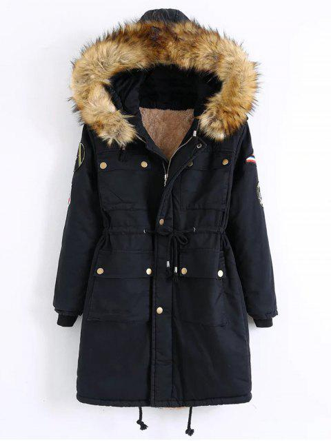 trendy Patch Hooded Parka Coat - BLACK XL Mobile