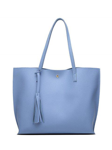 trendy Textured PU Leather Tassel Shoulder Bag - BLUE  Mobile