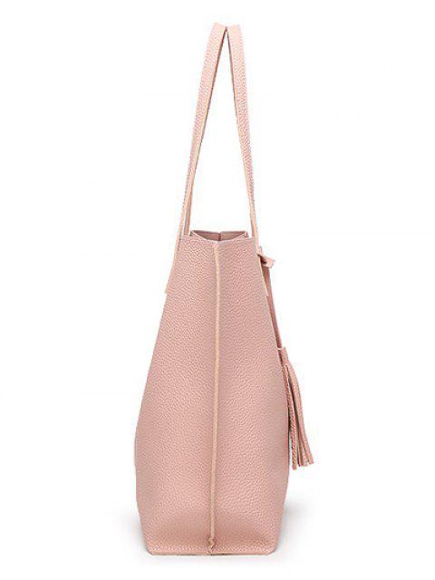 trendy Textured PU Leather Tassel Shoulder Bag - BLUE  Mobile