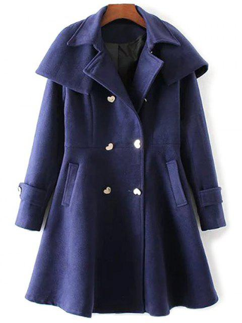affordable Double Breasted Skirted Cape Coat - DEEP BLUE S Mobile