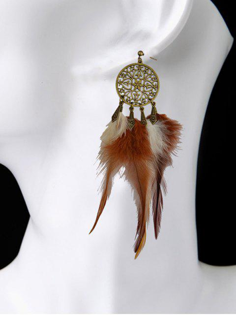 outfits Hollow Out Feather Tassel Earrings -   Mobile