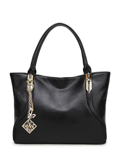women's Chains Pendant Shoulder Bag - BLACK  Mobile