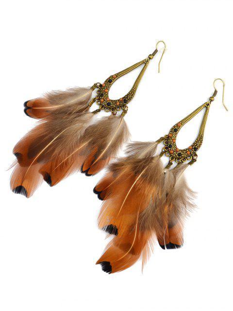 shop Water Drop Feather Tassel Earrings - ANTIQUE BROWN  Mobile