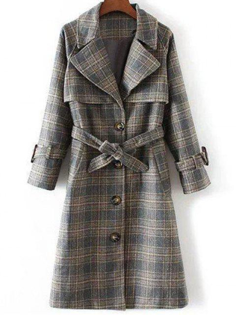 womens Single Breasted Checked Coat - GRAY M Mobile
