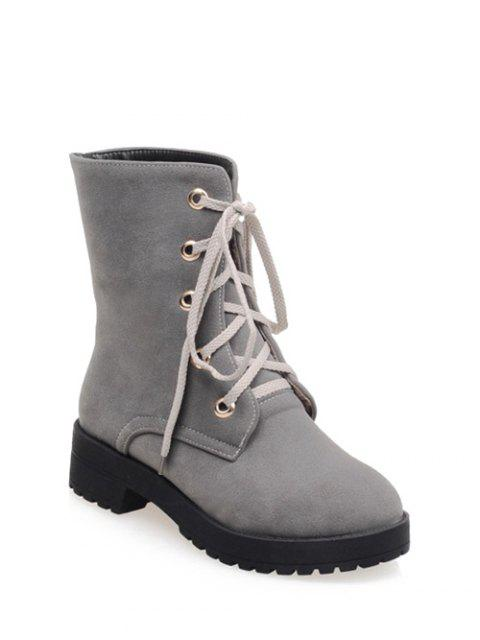 trendy Dark Color Tie Up Platform Ankle Boots -   Mobile