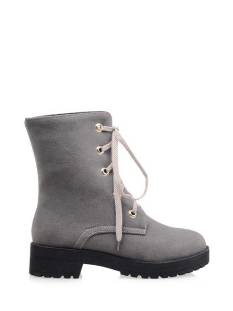 fashion Dark Color Tie Up Platform Ankle Boots -   Mobile