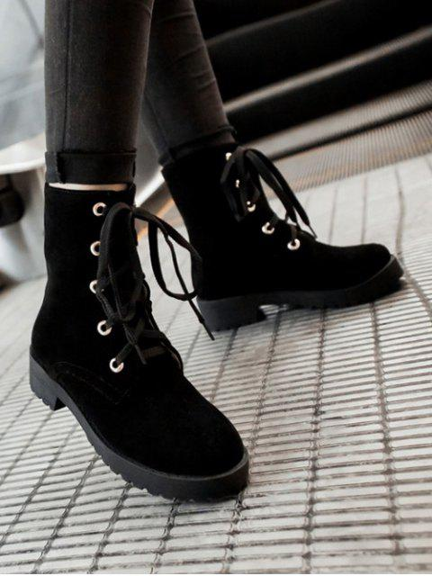 fancy Dark Color Tie Up Platform Ankle Boots -   Mobile