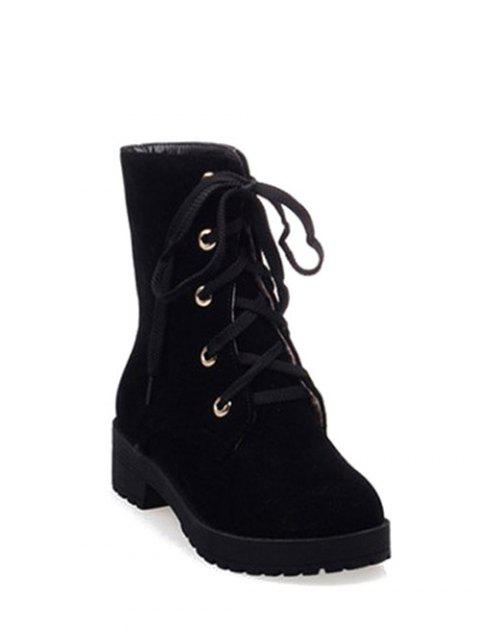 chic Dark Color Tie Up Platform Ankle Boots -   Mobile
