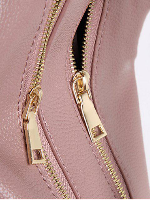 new Metallic Zips Textured Tote - PINK  Mobile