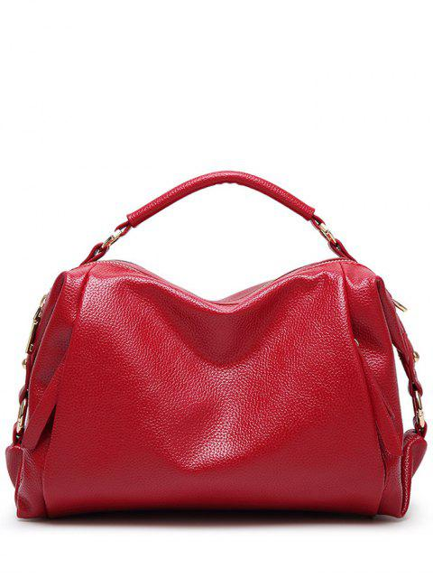 hot Metallic Zips Textured Tote - RED  Mobile