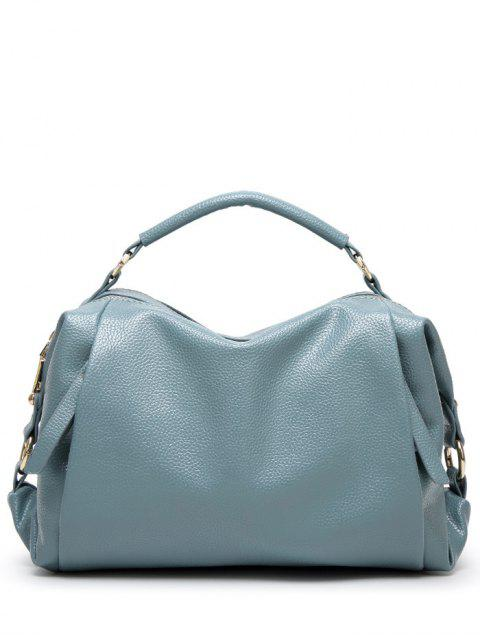 outfits Metallic Zips Textured Tote - BLUE  Mobile