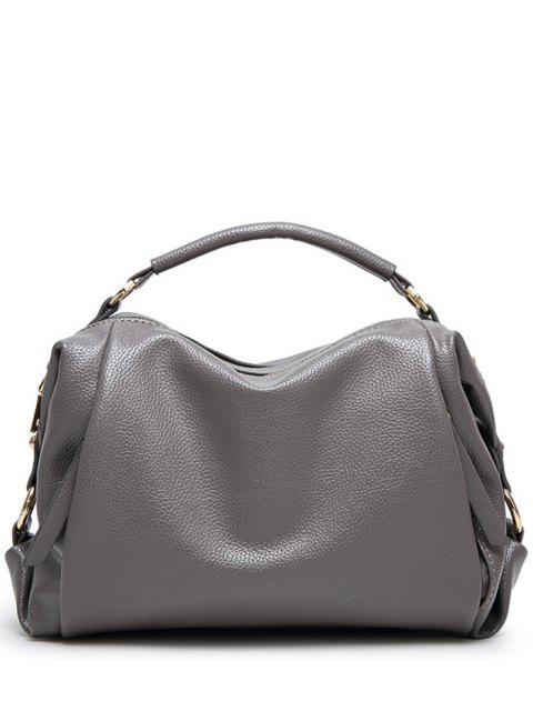 shop Metallic Zips Textured Tote - GRAY  Mobile