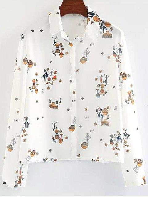 new Cartoon Print Shirt - WHITE S Mobile