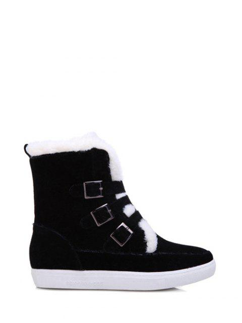 best Buckles Faux Fur Flat Heel Short Boots -   Mobile
