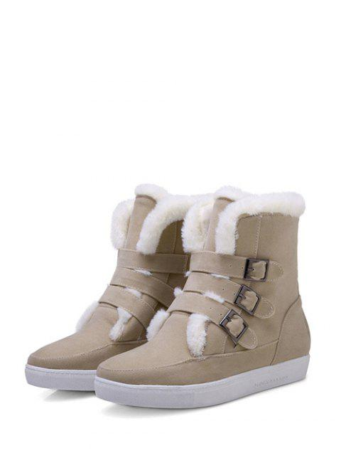 new Buckles Faux Fur Flat Heel Short Boots -   Mobile