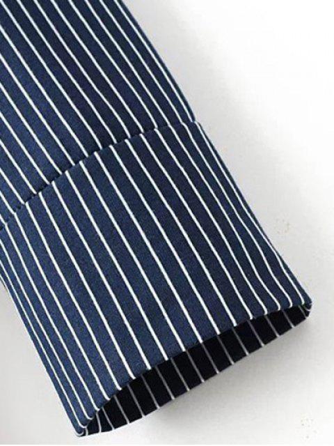 women Letter Striped Long Sleeve Dress - BLUE M Mobile