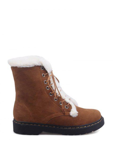 trendy Faux Fur Stitching Tie Up Short Boots - BROWN 38 Mobile