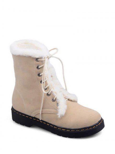 fancy Faux Fur Stitching Tie Up Short Boots - APRICOT 38 Mobile