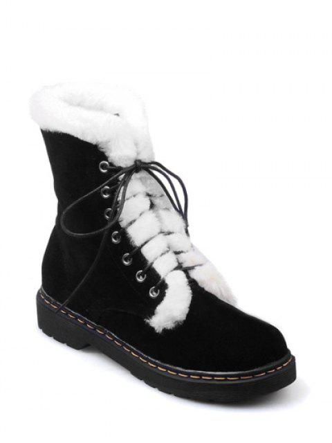 sale Faux Fur Stitching Tie Up Short Boots - BLACK 37 Mobile