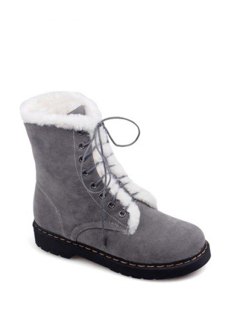 women Faux Fur Stitching Tie Up Short Boots - GRAY 38 Mobile