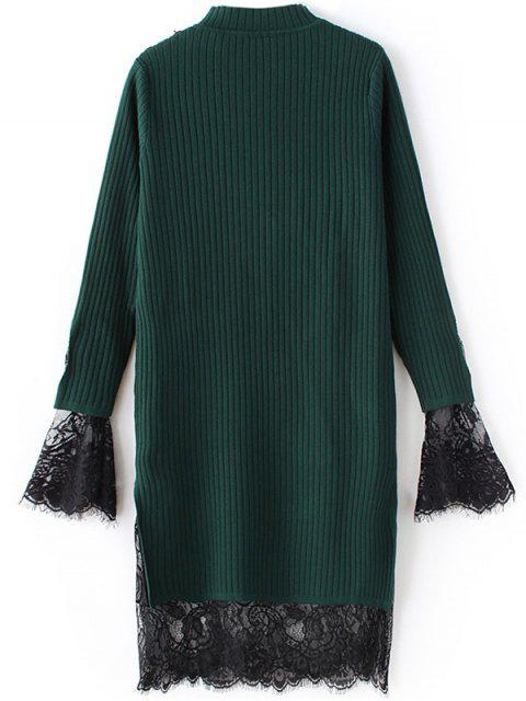 lady Lace Panel Cut Out Knitting Dress - GREEN ONE SIZE Mobile