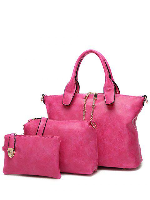 latest Metal Chains PU Leather Handbag - ROSE RED  Mobile