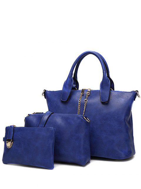fashion Metal Chains PU Leather Handbag - BLUE  Mobile