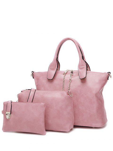 sale Metal Chains PU Leather Handbag - PINK  Mobile