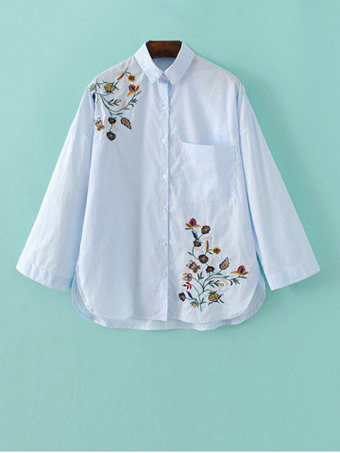 hot Loose Floral Shirt - LIGHT BLUE L Mobile