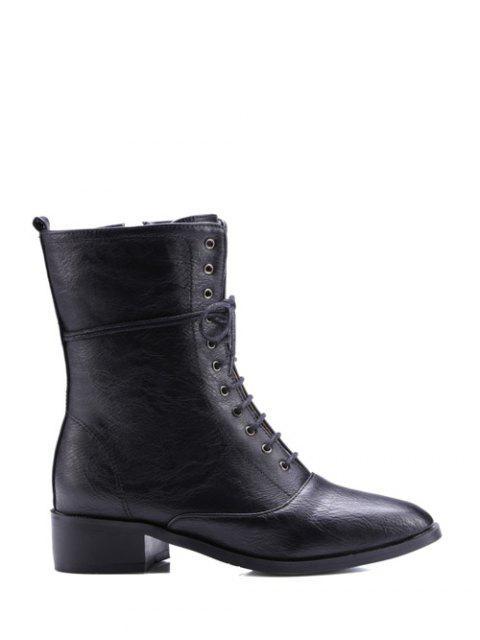 latest Chunky Heel Zipper Square Toe Short Boots - BLACK 38 Mobile
