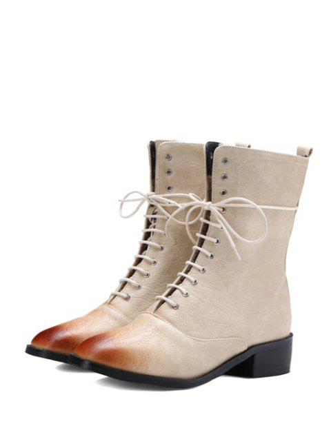 trendy Chunky Heel Zipper Square Toe Short Boots - OFF-WHITE 39 Mobile