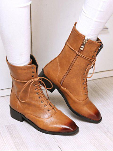 unique Chunky Heel Zipper Square Toe Short Boots - BROWN 37 Mobile