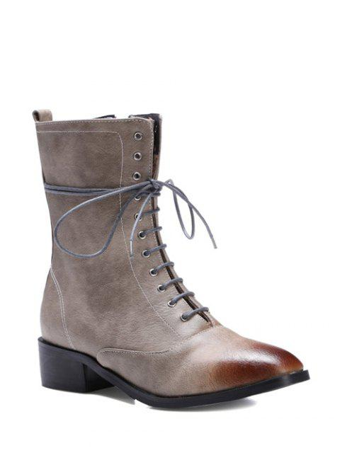 affordable Chunky Heel Zipper Square Toe Short Boots - GRAY 39 Mobile