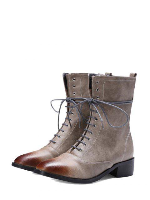 womens Chunky Heel Zipper Square Toe Short Boots - GRAY 38 Mobile