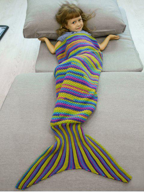 Stripe Gestrickte Mermaid Blanket - COLORMIX   Mobile