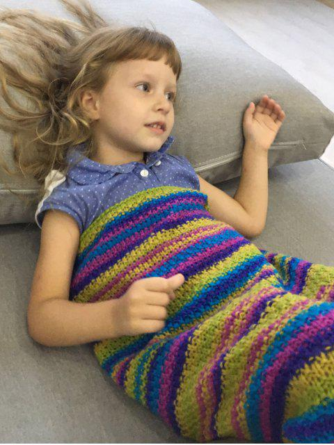 affordable Stripe Knitted Mermaid Blanket - COLORMIX  Mobile