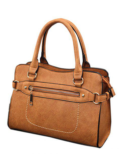 buy Stitching Zip Textured PU Leather Tote -   Mobile