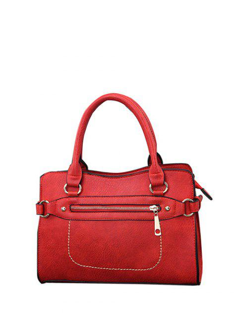 womens Stitching Zip Textured PU Leather Tote -   Mobile