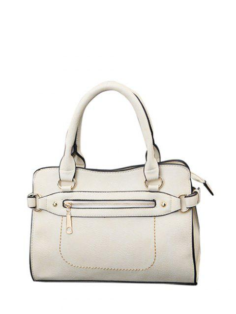 women Stitching Zip Textured PU Leather Tote - WHITE  Mobile